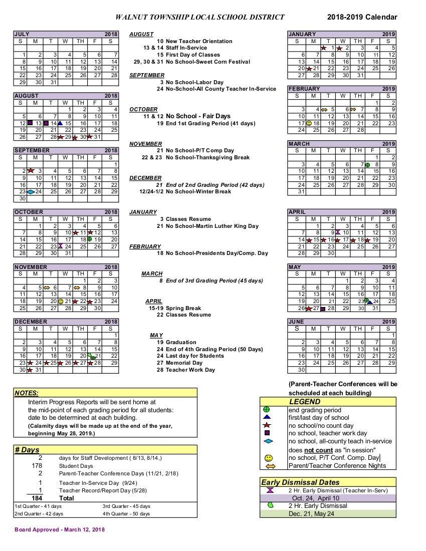 2018-2019 District Calendar - Walnut Township Local Schools P 2019 Calendar
