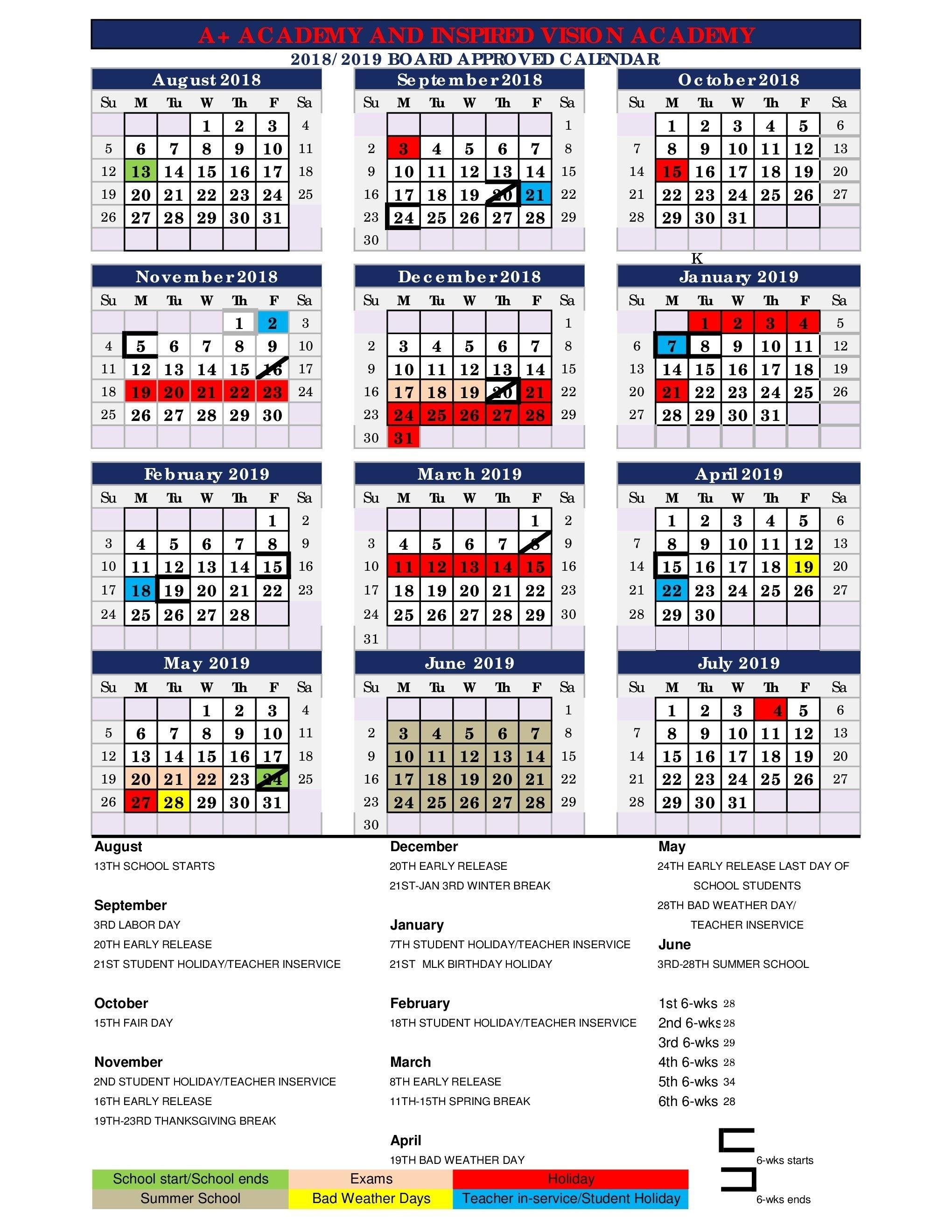 2018 - 2019 District Wide Calendar – About Us – A+ Academy Secondary 445 Calendar 2019