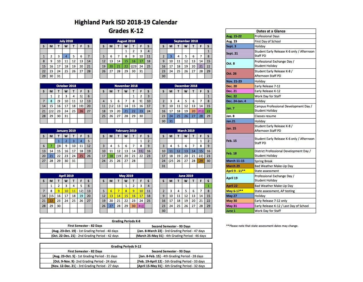 2018-2019 Hpisd Calendars – Calendars – Highland Park Independent Calendar 2019 Hisd