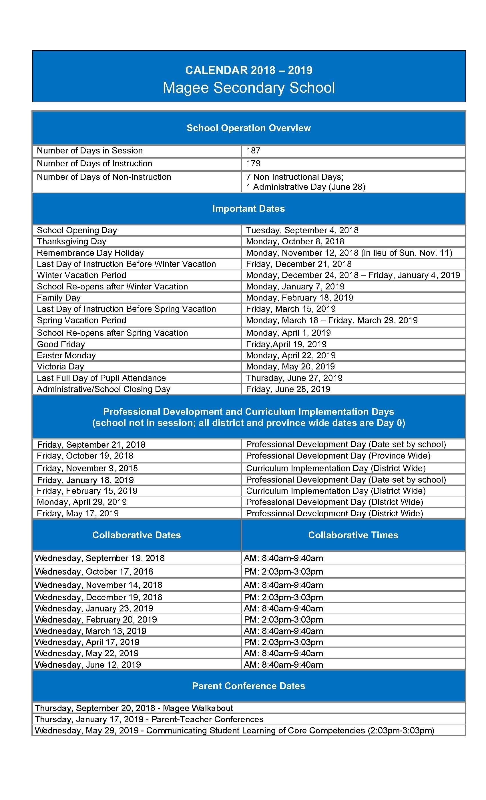 2018-2019 Magee Calendar Calendar 2019 Important Dates