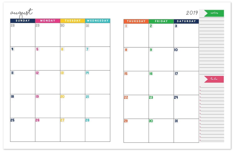 2018-2019 Monthly Planner Calendar | Free Printable Planner 2 Page Monthly Calendar 2019 Printable
