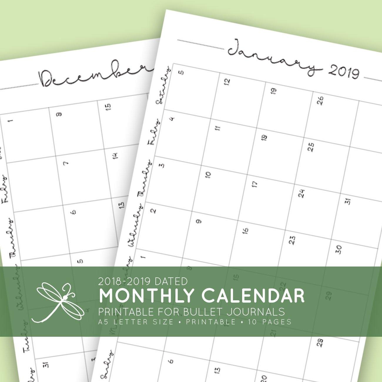 2018 + 2019 Monthly Printable Calendar | Laura Kinker - Designer 2019 Calendar 8.5 X 11 Printable