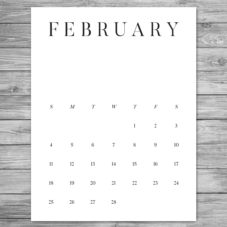 2018 2019 Printable Minimalist Monthly Calendar Desk | Etsy 2019 Calendar 8.5 X 11