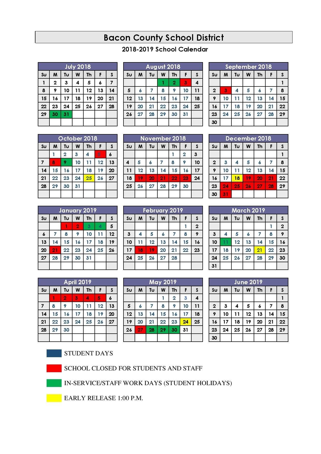 2018-2019 School Calendar 445 Calendar 2019