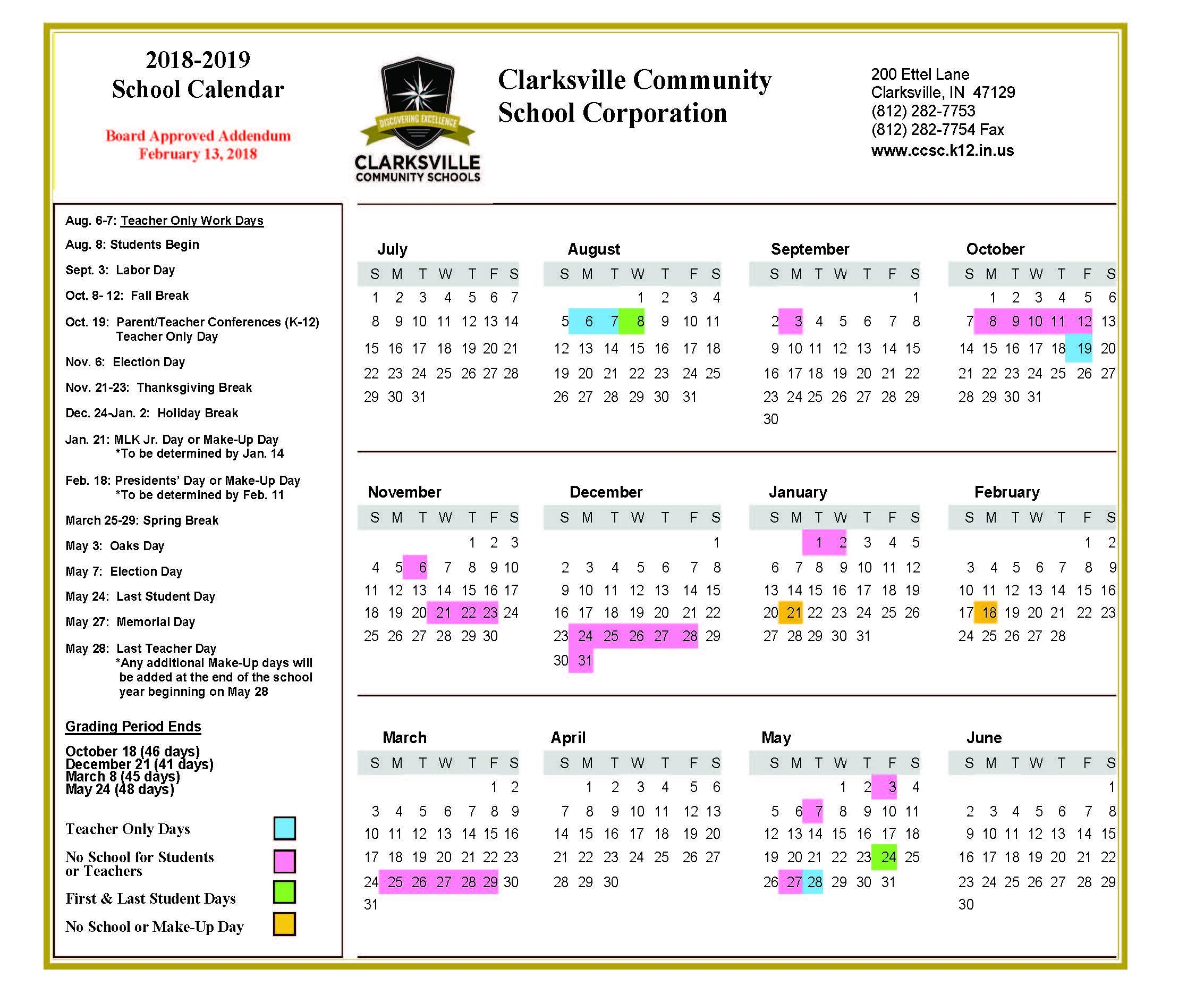 2018-2019 School Calendar Approvedboard | Clarksville Community School Calendar 2019-20