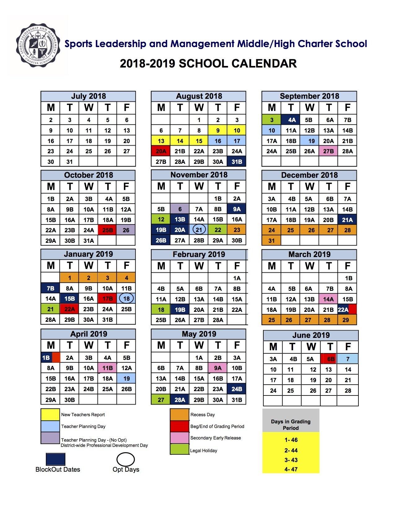 2018-2019 School Calendar Calendar 2019 Ke