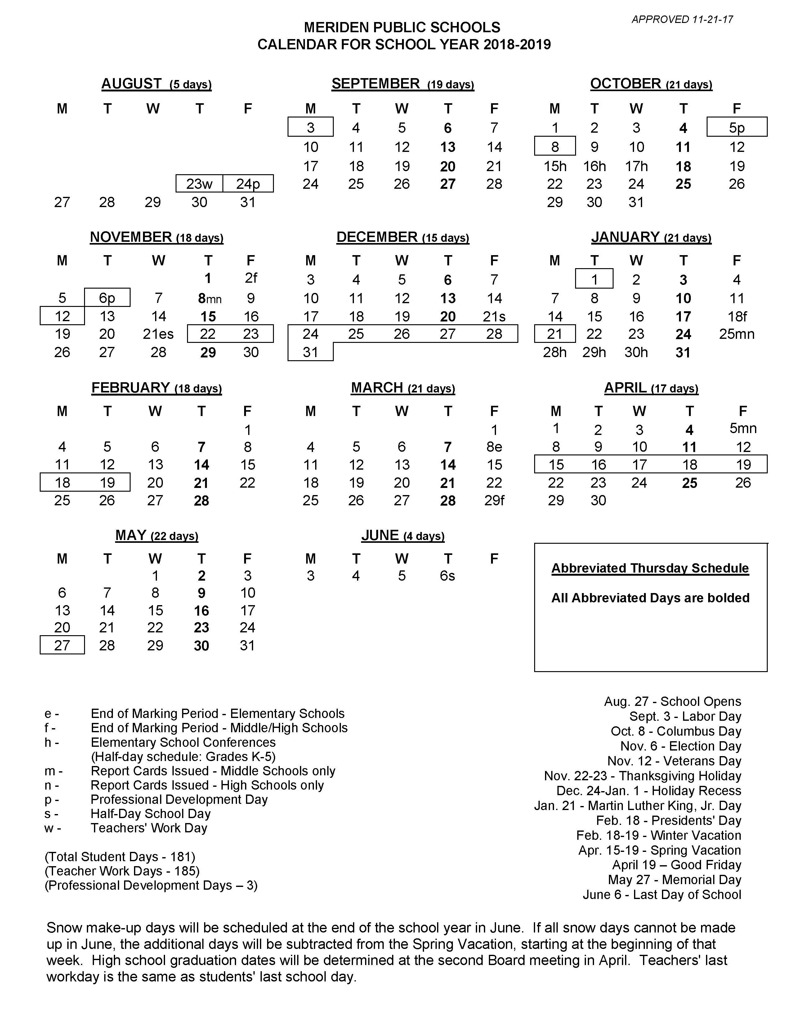 2018-2019 School Calendar Calendar 2019 School