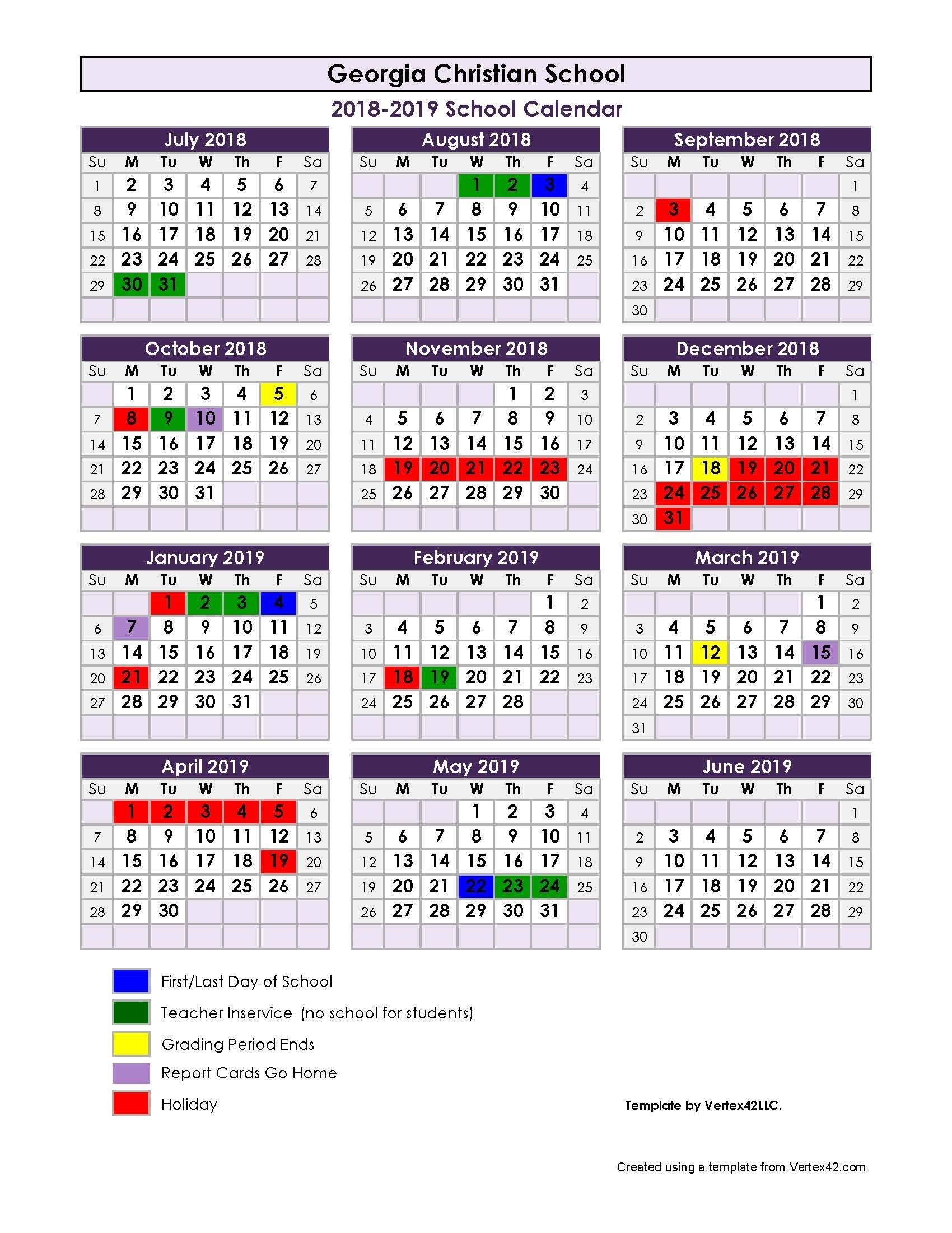 2018-2019 School Calendar - Georgia Christian School Calendar 2019 Christian
