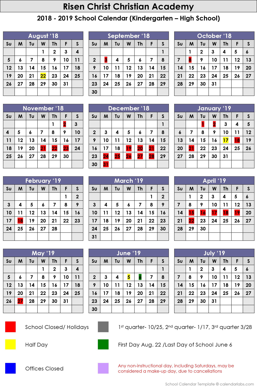 2018-2019 School Calendar - Risen Christ Christian Academy Calendar 2019 Christian