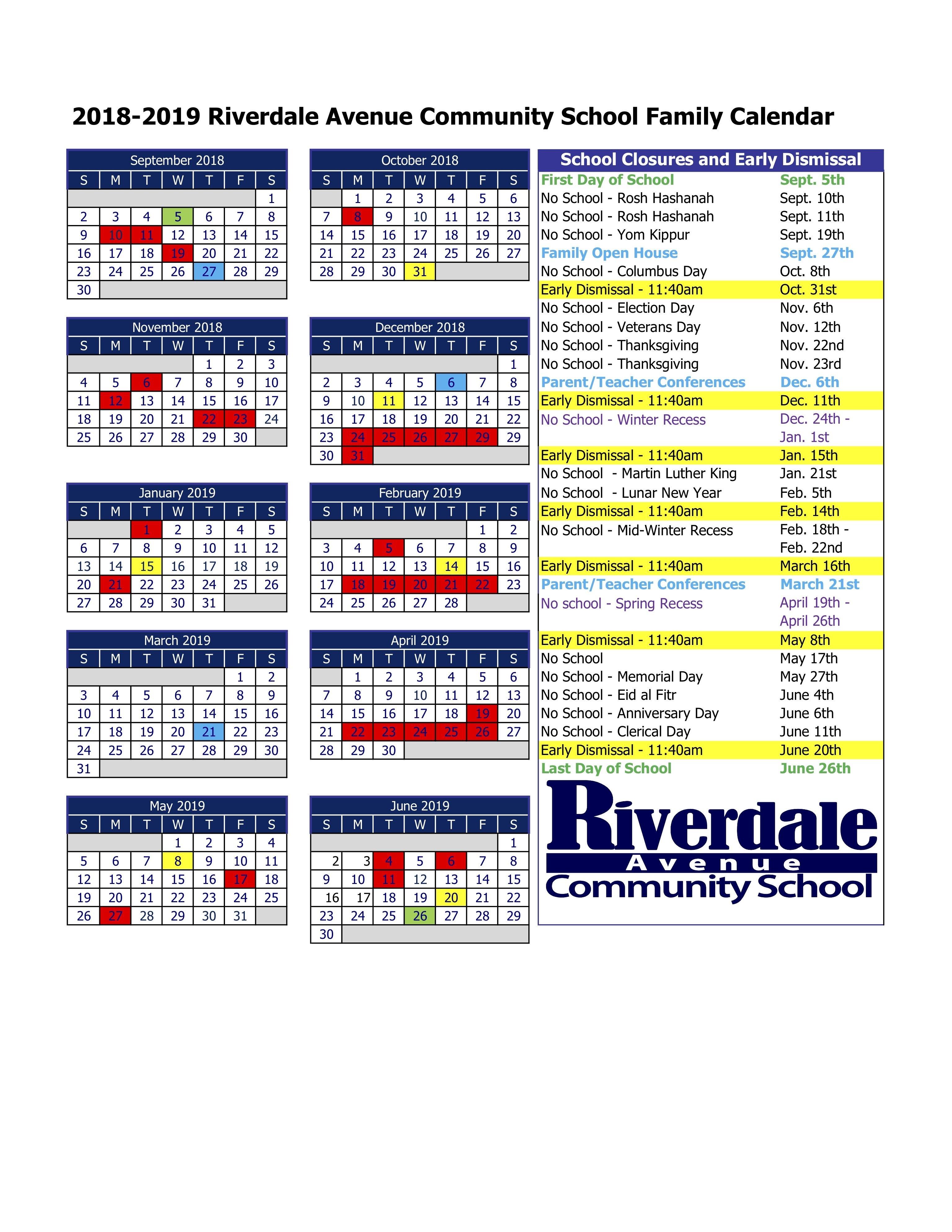 2018-2019 School Calendar – Riverdale Avenue Community School 9 Lives Calendar 2019