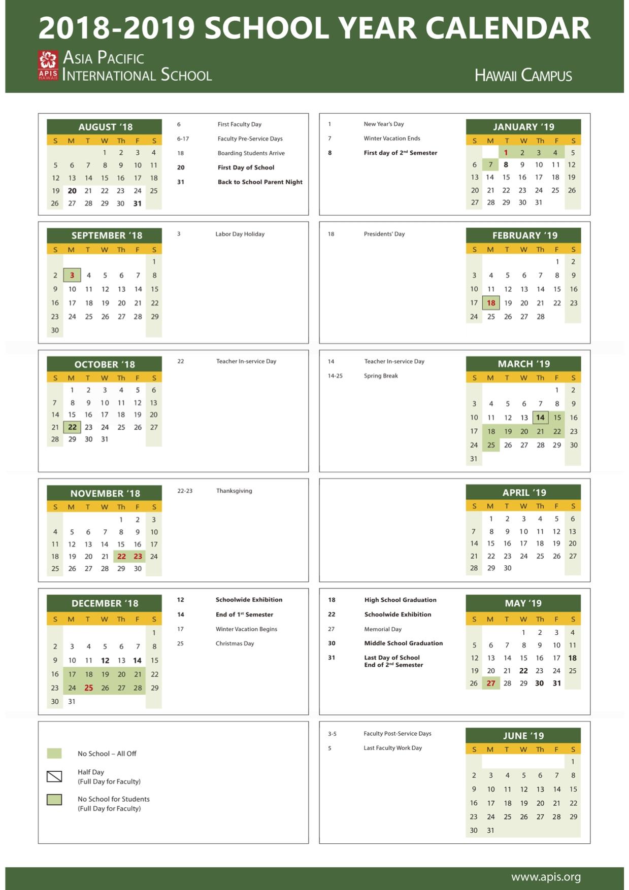 2018-2019 School Year Calendar Hawaii - Apis Calendar 2019 Hawaii