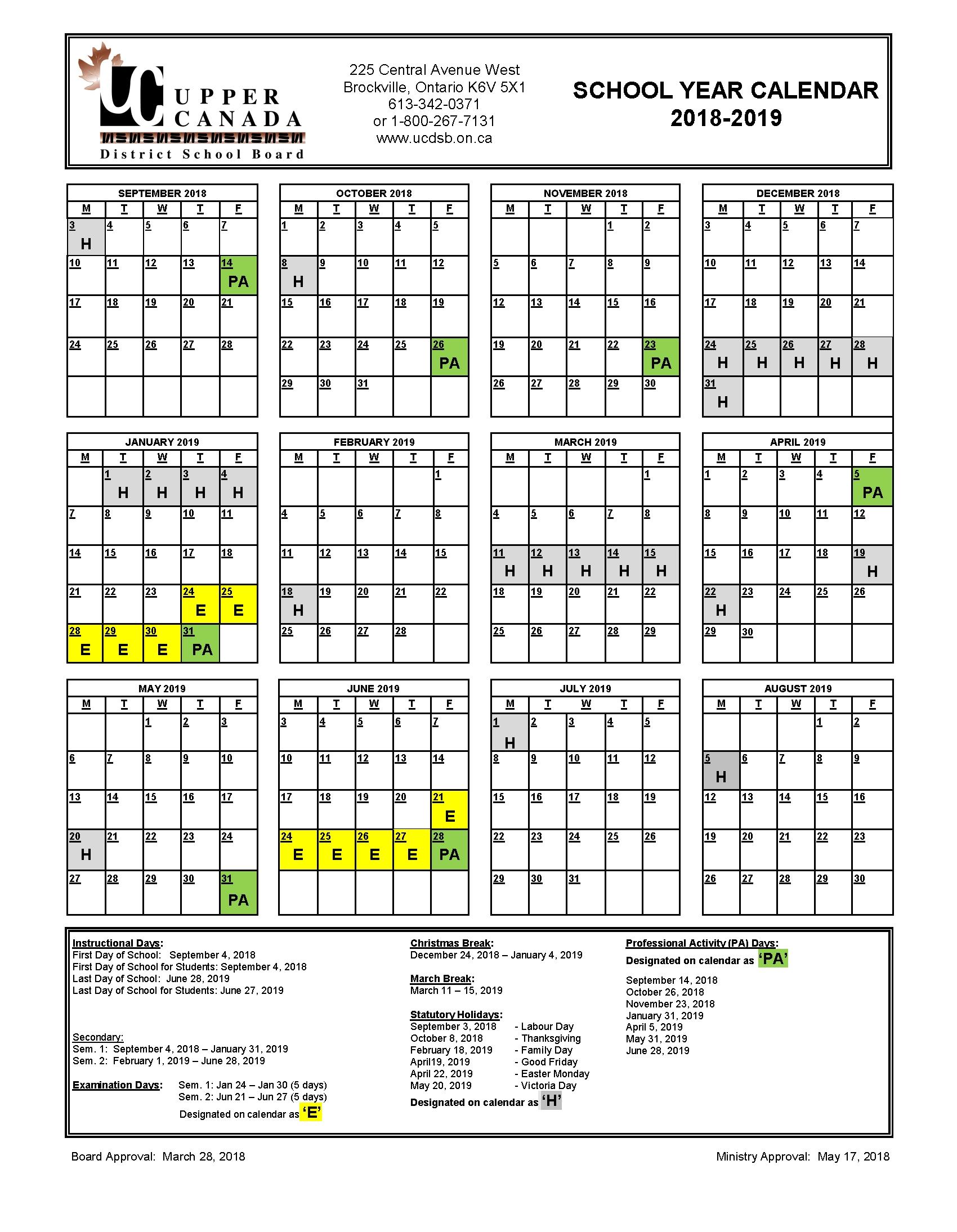 2018-2019 School Year Calendar - Upper Canada District School Board Calendar 2019 Qu