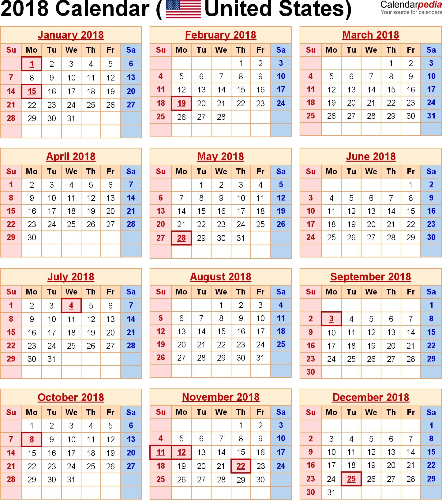 2018 Calendar United States Holidays | 2018 Calendars | Pinterest Calendar 2019 With Us Holidays