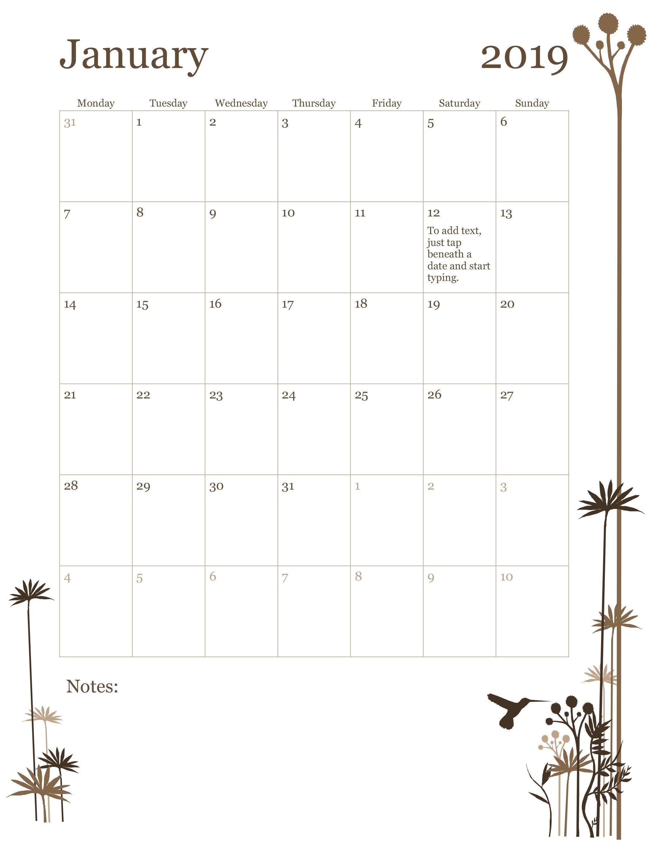 2019 12-Month Calendar (Mon-Sun) Calendar 2019 12