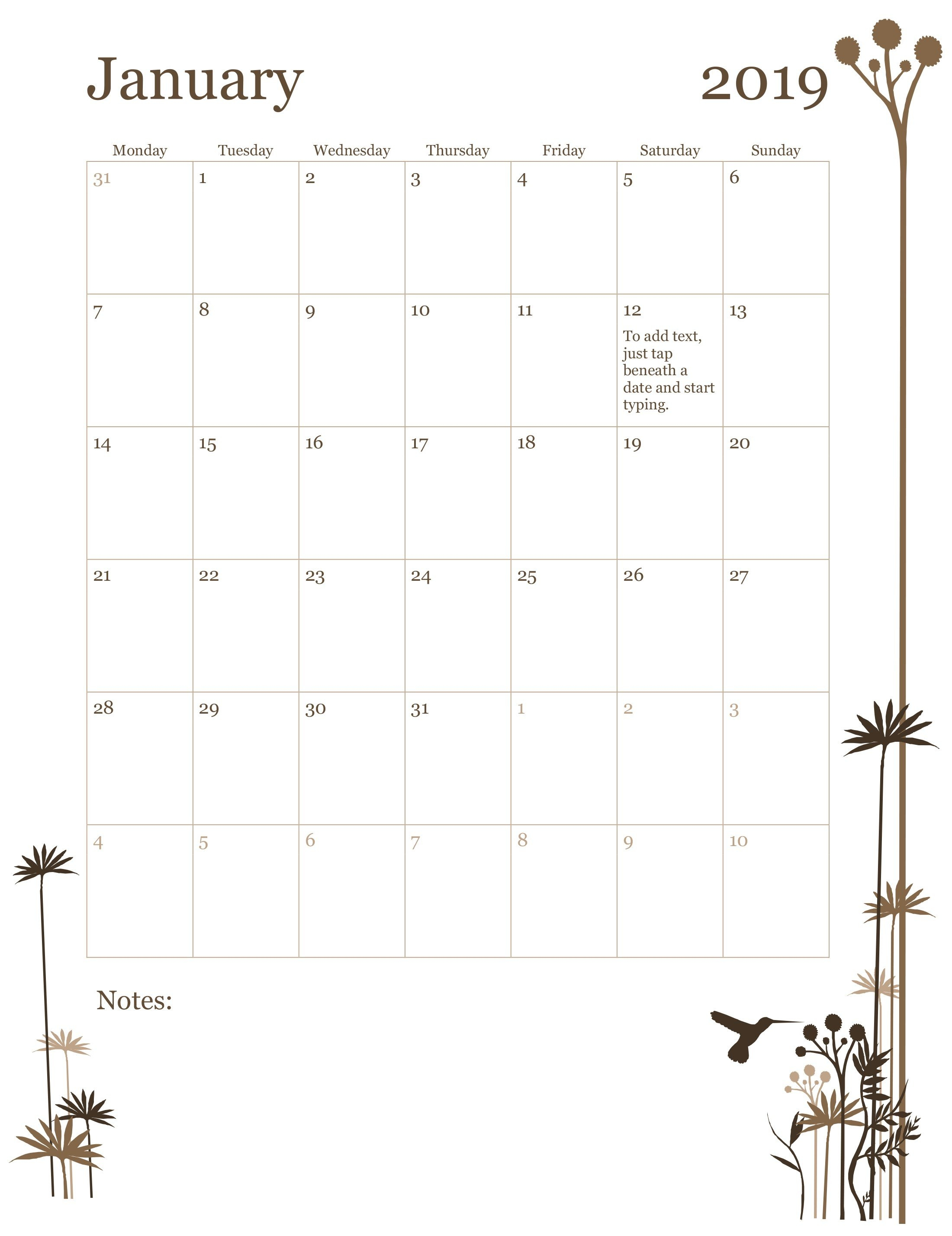 2019 12-Month Calendar (Mon-Sun) Calendar 2019 By Month