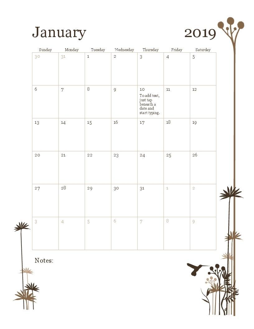 2019 12-Month Calendar (Sun-Sat) Calendar 2019 By Month
