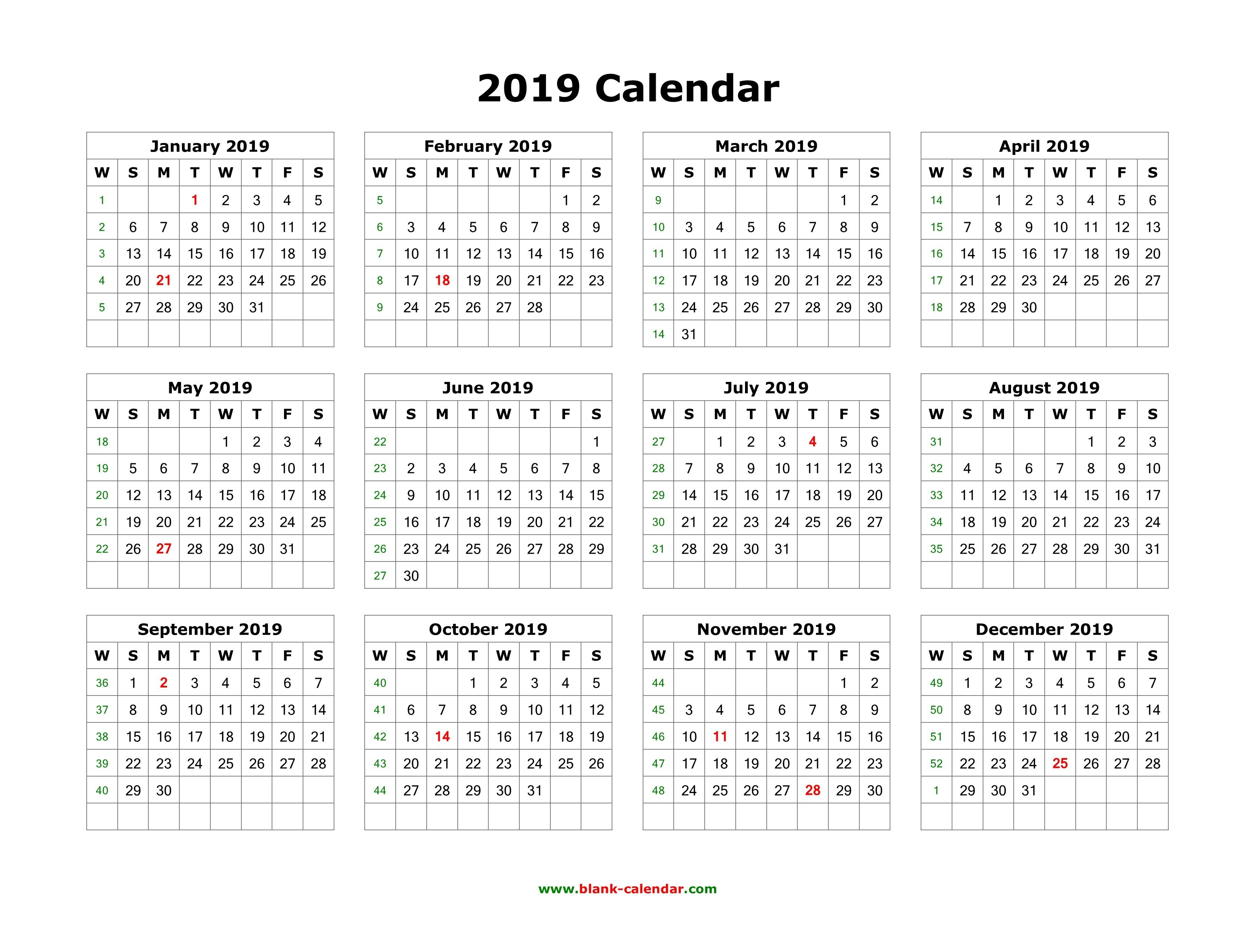 2019 12 Month Printable Calendar Download Blank Calendar 2019 12 Calendar 2019 One Page Printable