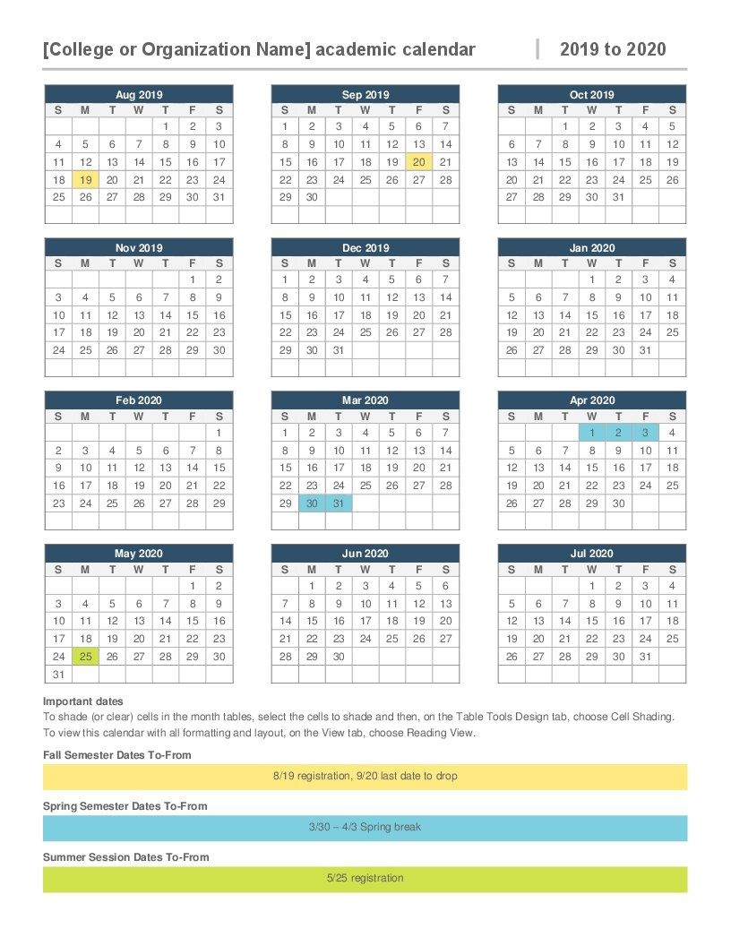 2019-2020 Academic Calendar Calendar 2019 With Pictures