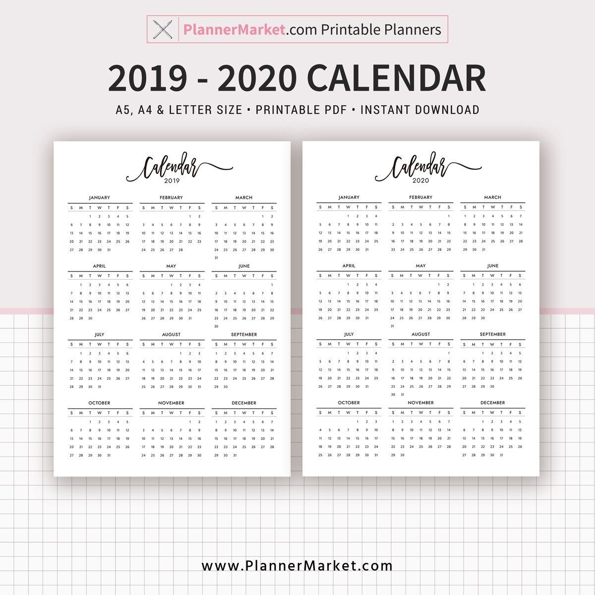 2019-2020 Calendar Printable, A5, A4, Letter Size, Planner Refill Calendar 2019 Refill