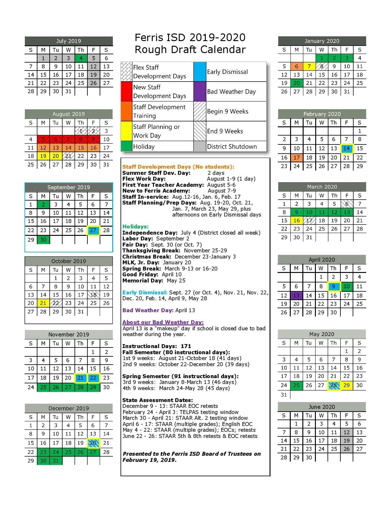 2019-2020 Proposed Calendar - Ferris Independent School District 9 Lives Calendar 2019