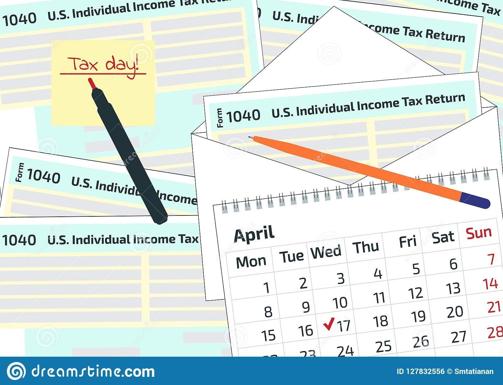 2019, 2020 Tax Form 1040 In The Envelope, A Pen And A Calendar. Tax U Of H Calendar 2019