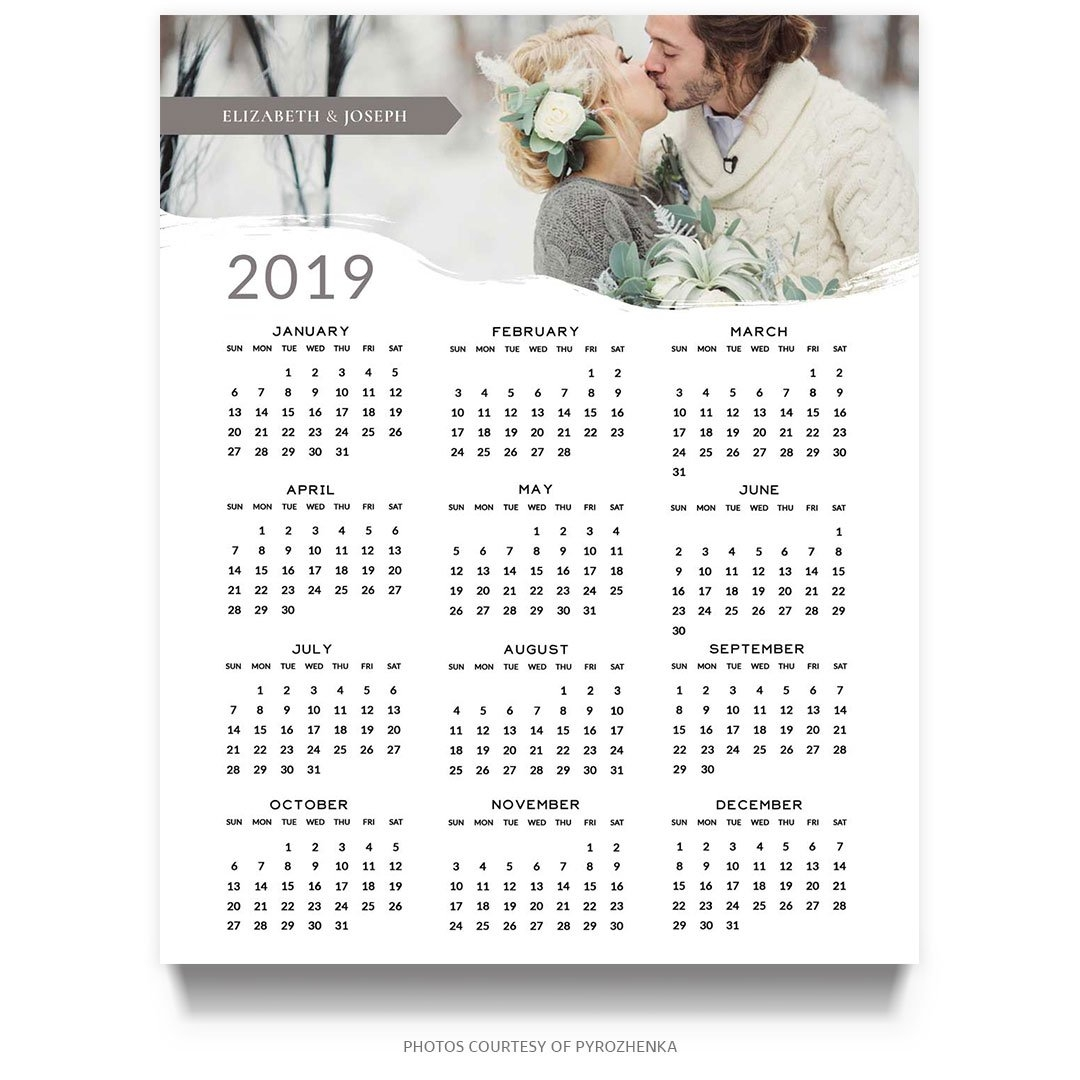 2019 8X10 Photoshop Calendar Template - Mockaroon 8X10 Calendar 2019