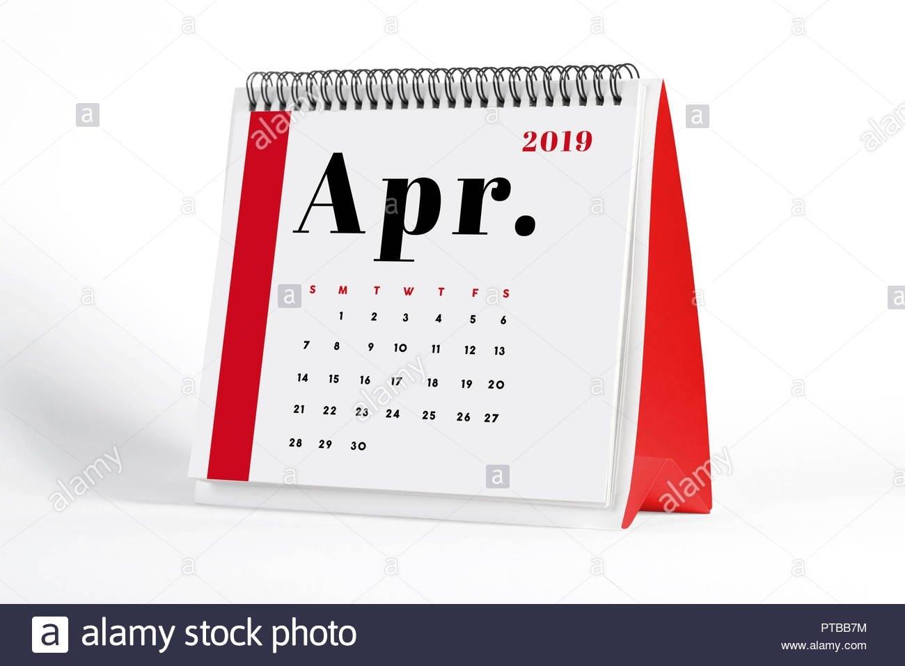 2019 April Page Of A Desktop Calendar On White Background. 3D Calendar 2019 3D
