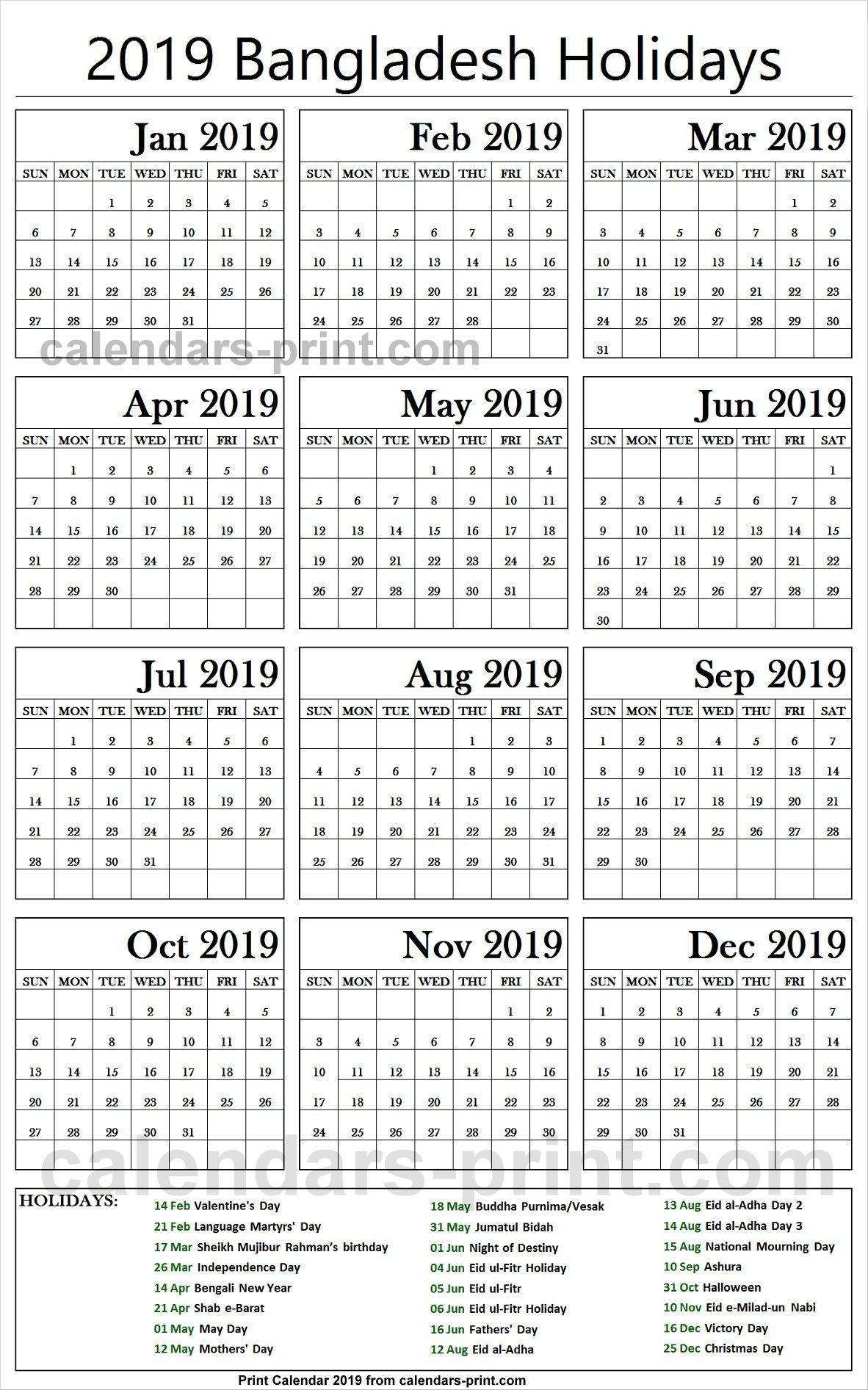 2019 Bank Holidays Bangladesh Calendar | 2019 Bangladesh Calendar Calendar Of 2019 With Holidays In Bangladesh