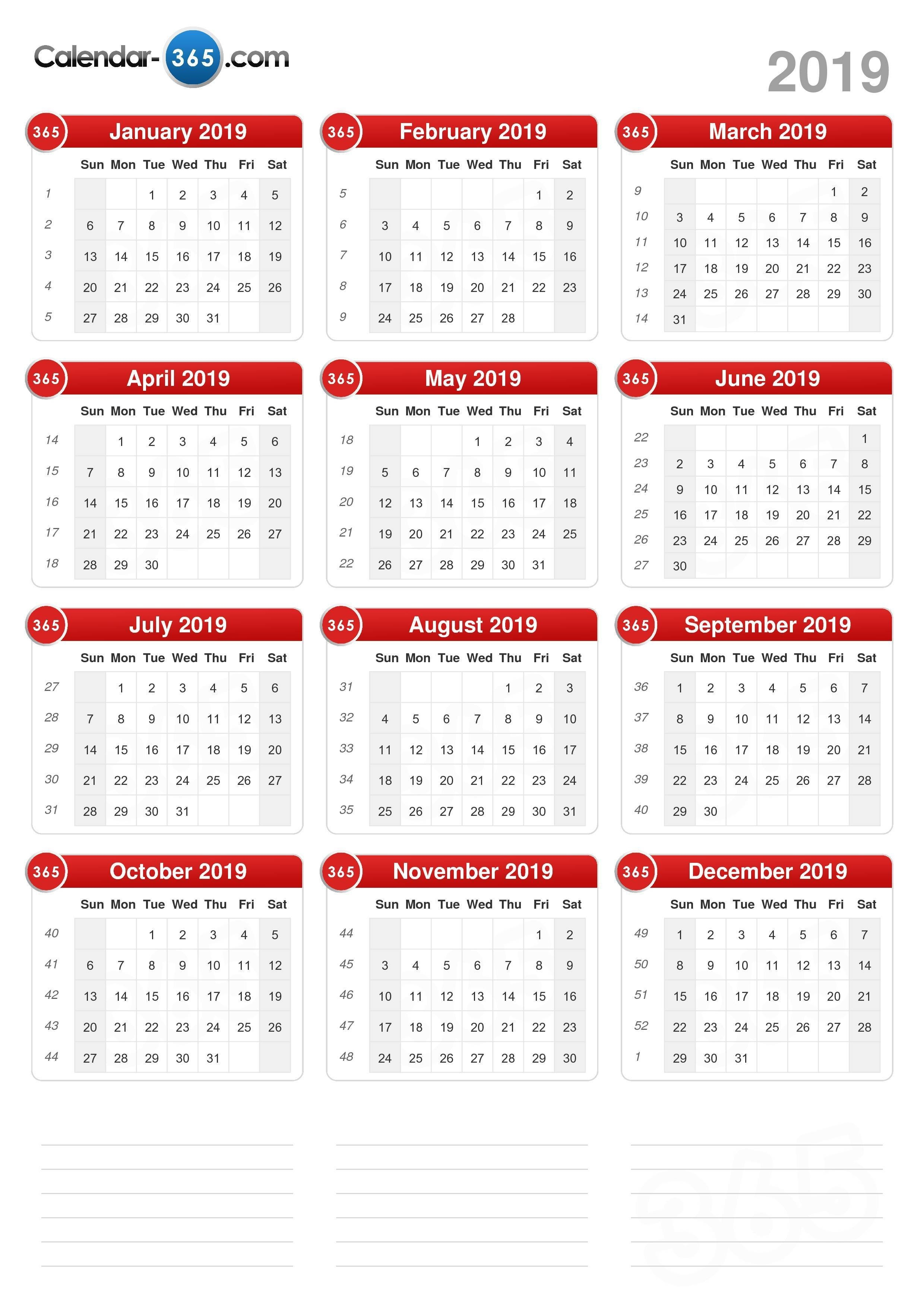 2019 Calendar 4 Week Period Calendar 2019