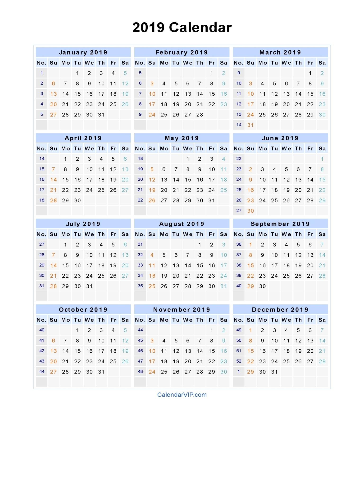 2019 Calendar - Blank Printable Calendar Template In Pdf Word Excel Calendar 2019 Excel Editable