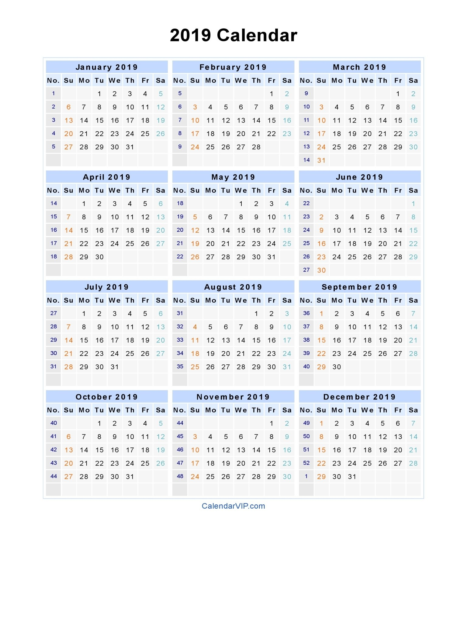 2019 Calendar - Blank Printable Calendar Template In Pdf Word Excel Calendar 2019 In Weeks