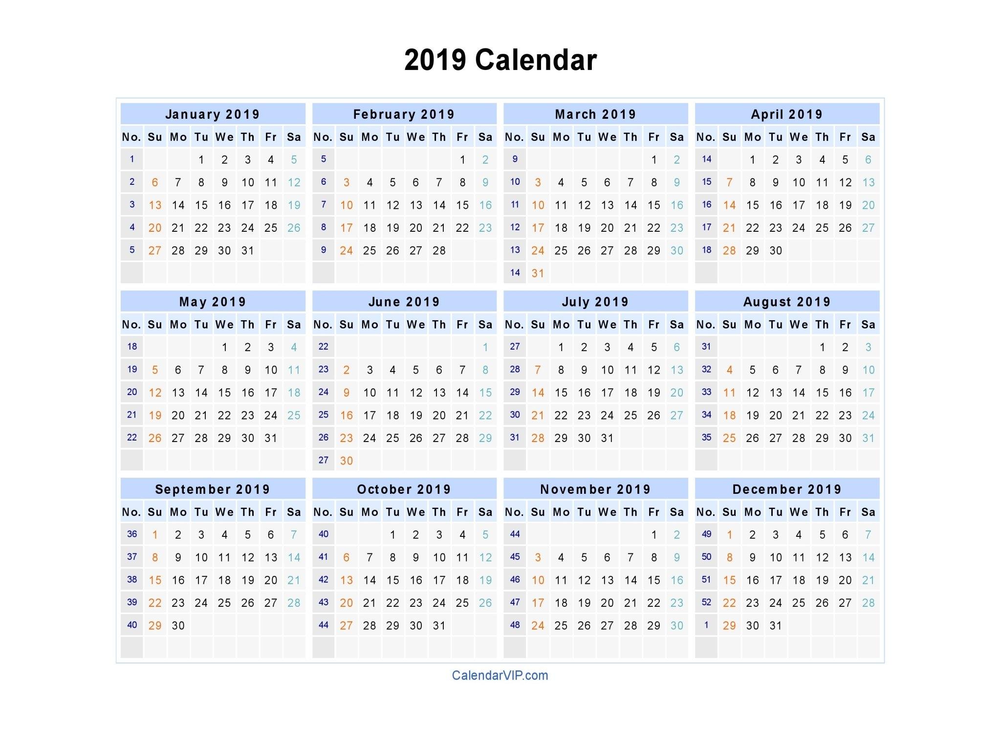 2019 Calendar - Blank Printable Calendar Template In Pdf Word Excel Calendar Week 12 2019