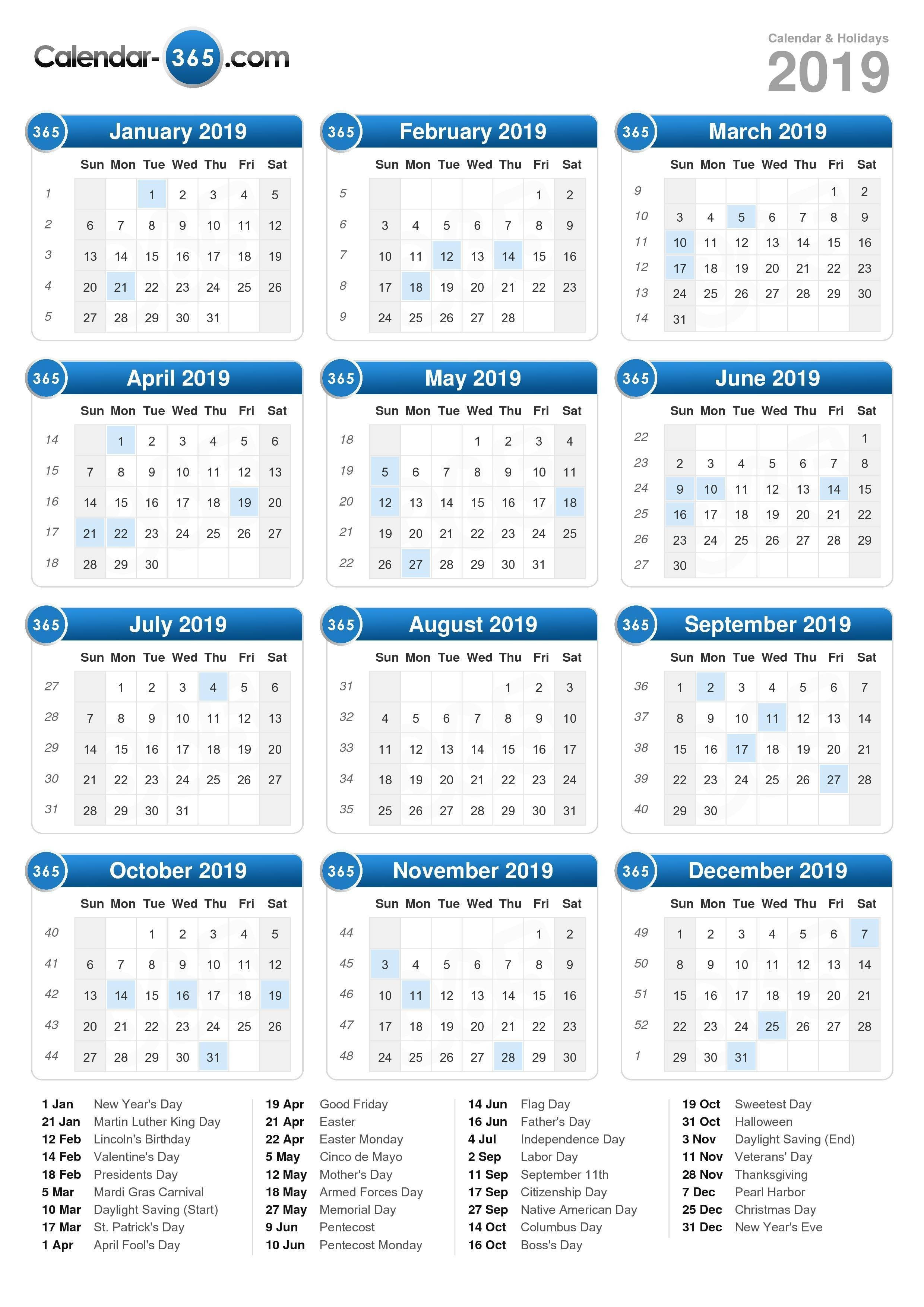 2019 Calendar Calendar 2019 Holiday Dates