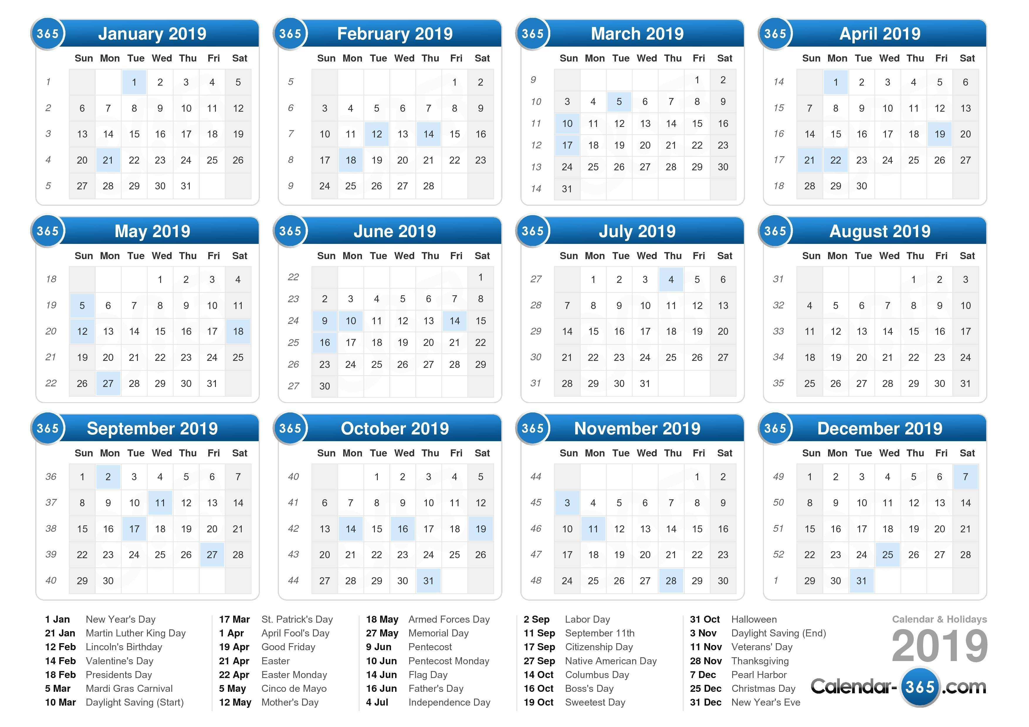 2019 Calendar Calendar 2019 Including Holidays