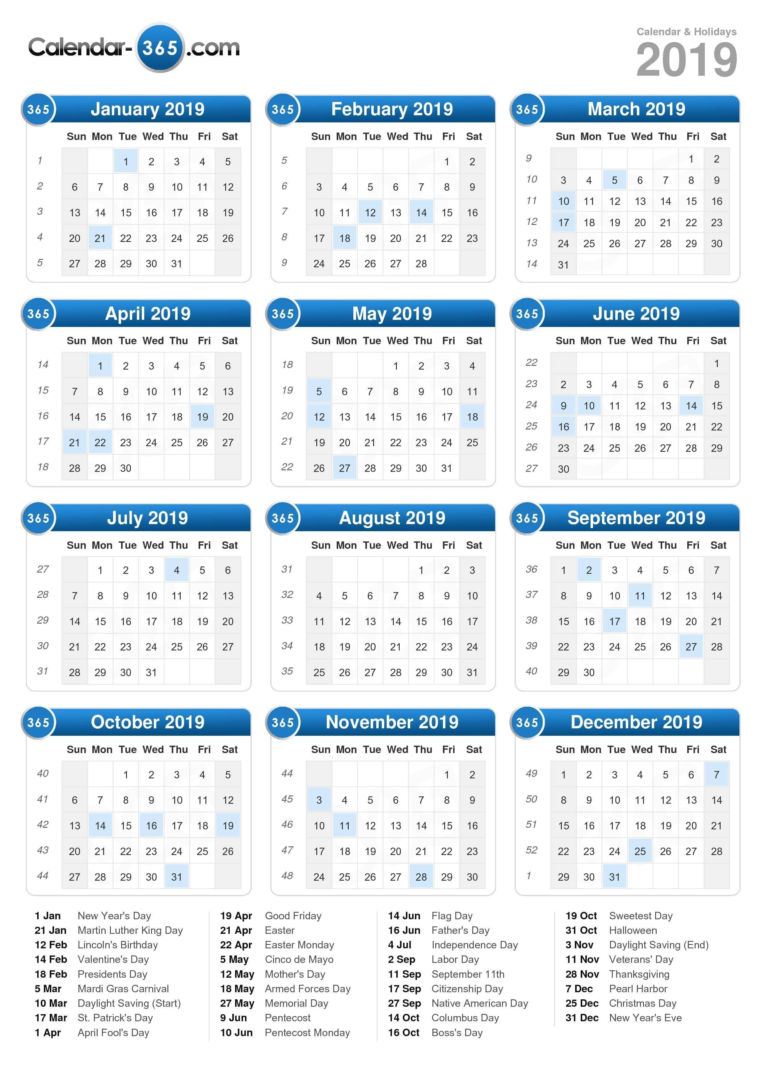 2019 Calendar Calendar 2019 National Holidays