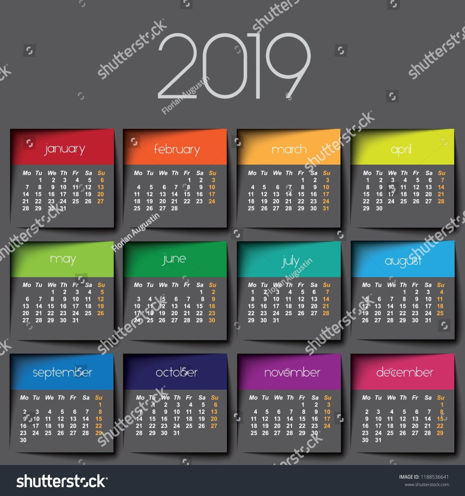 2019 Calendar Color Post Stock Vector (Royalty Free) 1188536641 J 2019 Calendar