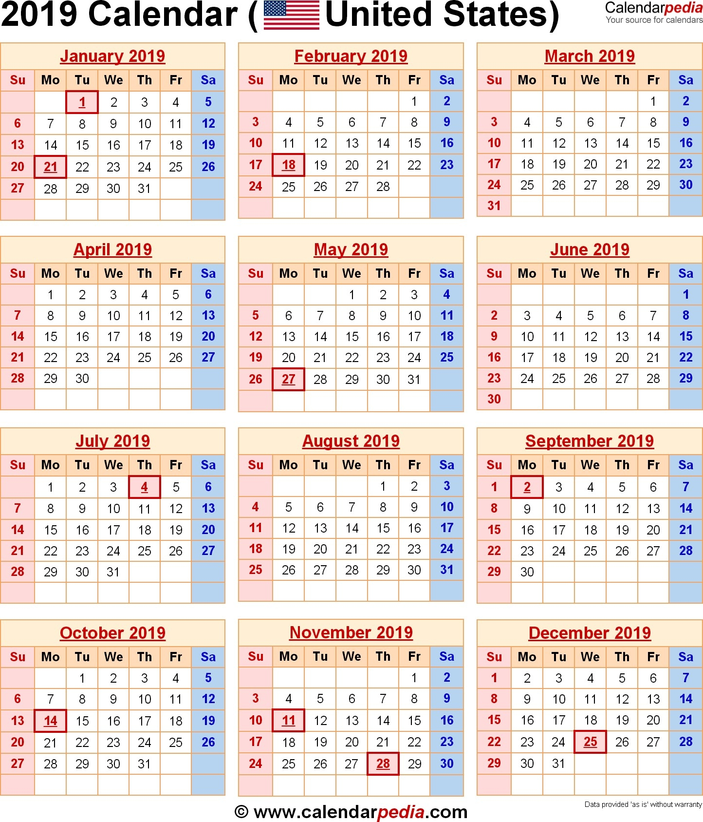 2019 Calendar Download 17 Free Printable Excel Templates Xlsx Calendar 2019 Xlsx