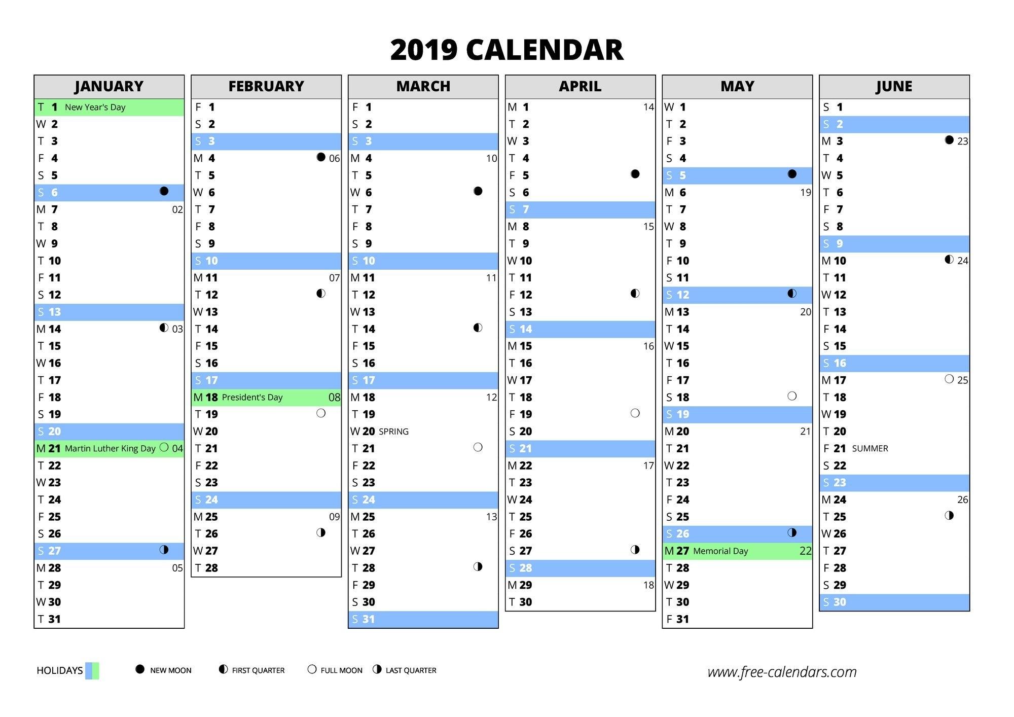 2019 Calendar ≡ Free-Calendars W 2019 Calendar