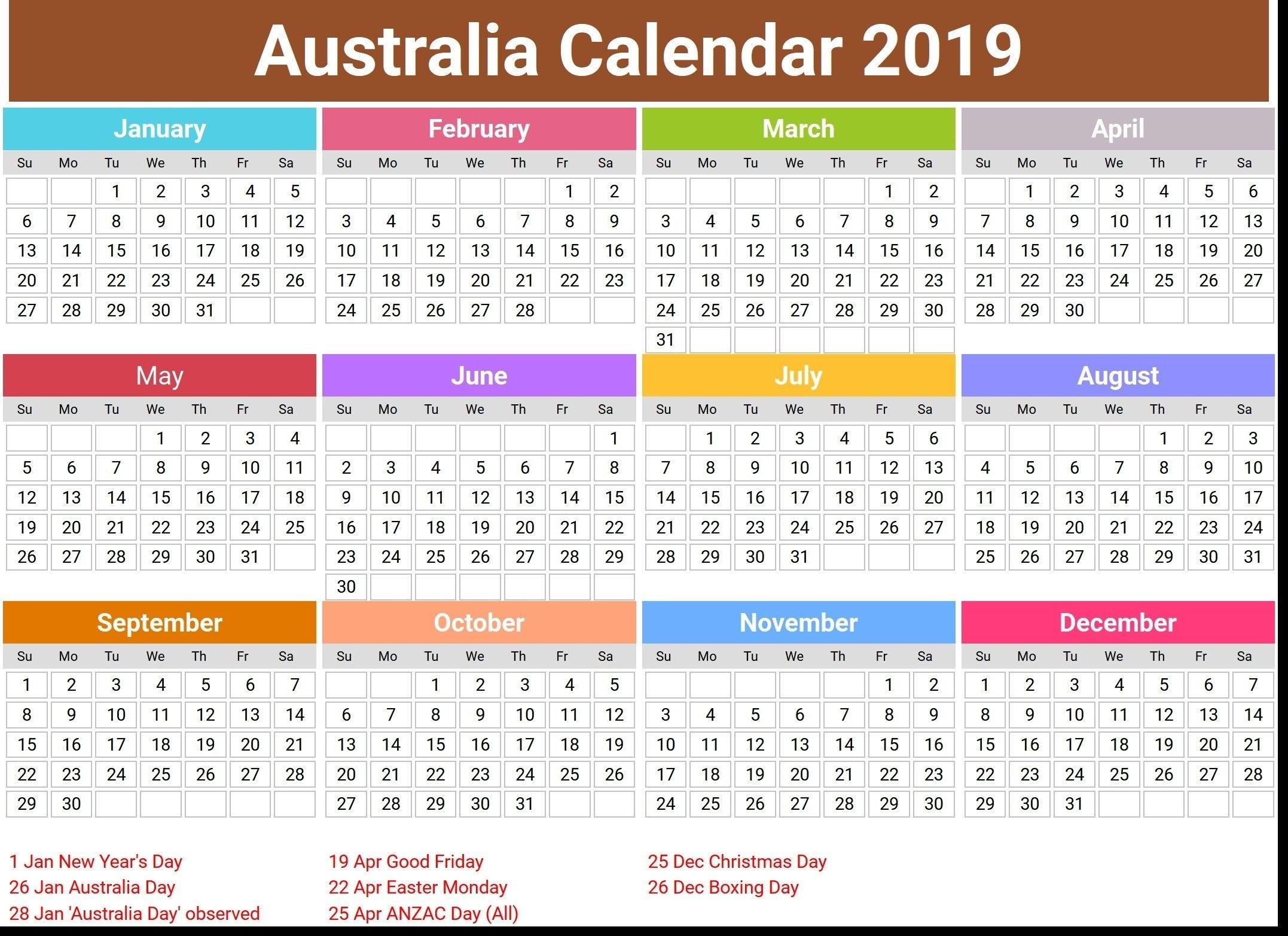 2019 Calendar Holidays | 2019 Calendar Holidays | Pinterest Calendar Year 2019 Australia