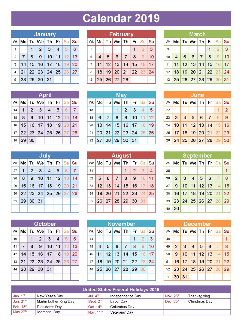 2019 Calendar Holidays | تقويم | Pinterest | Calendar, 2019 Calendar Calendar 2019 With Holidays