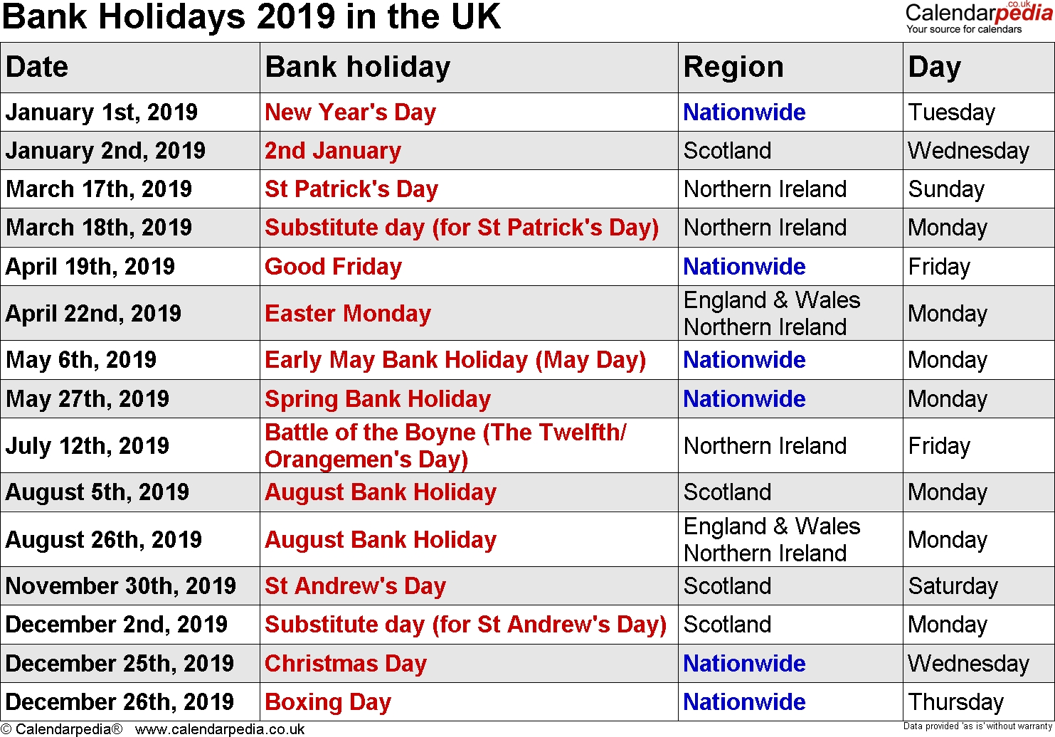 2019 Calendar Holidays – Superb Vehicles Calendar 2019 With Holidays