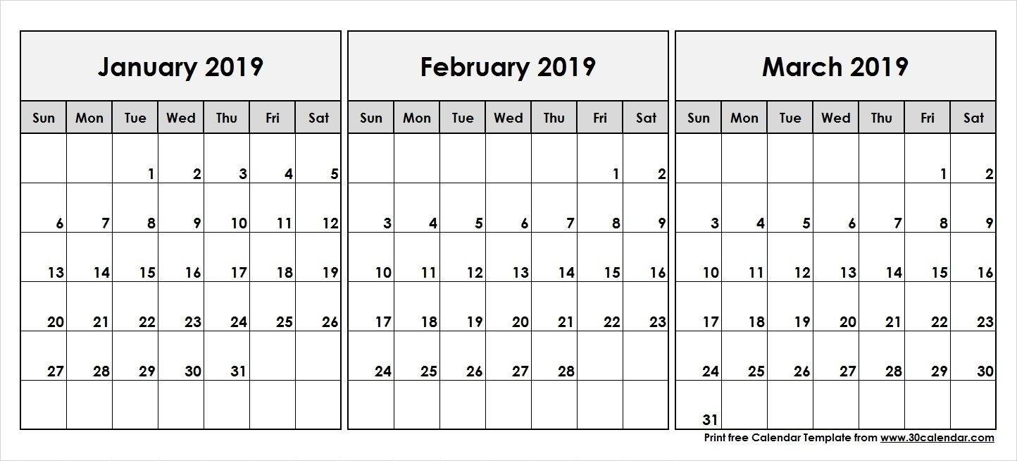 2019 Calendar Jan Feb March | Calendar Template | 555+ December Calendar 2019 January To March