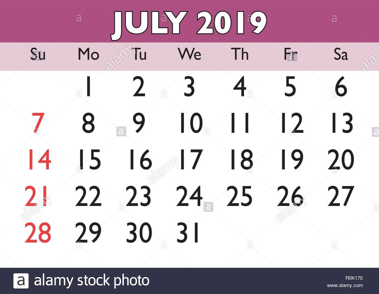 2019 Calendar July Month. Vector Printable Calendar. Monthly July 9 2019 Calendar