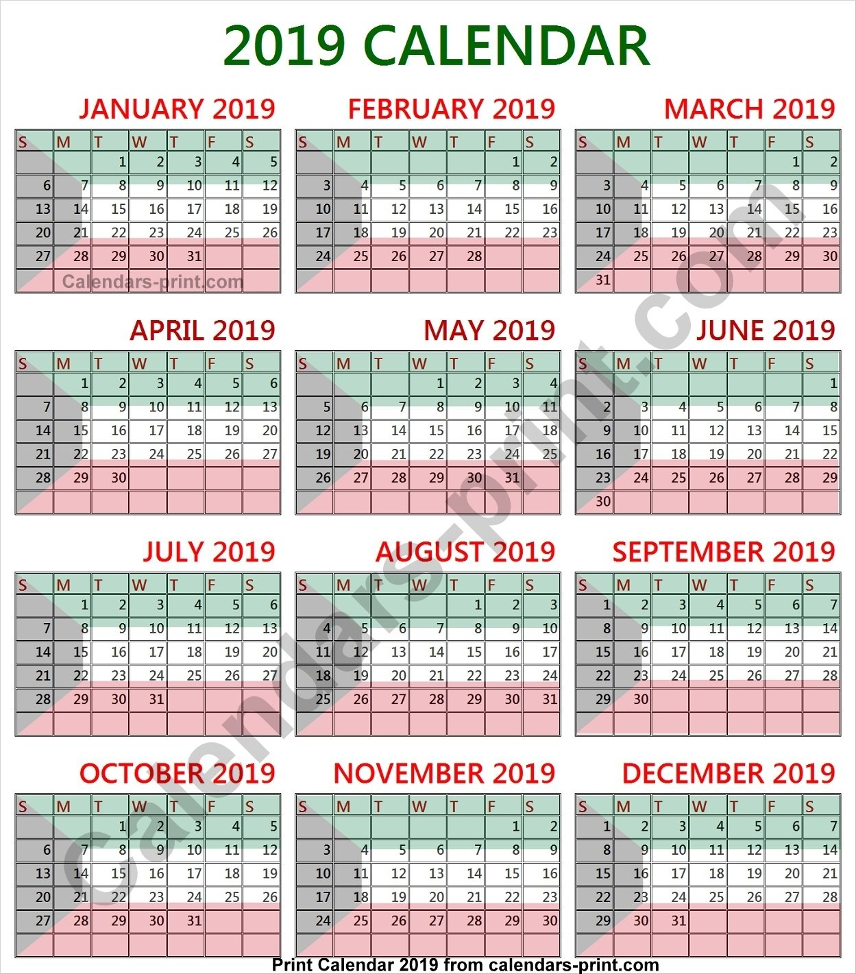 2019 Calendar Kuwait To Print Free | Download Blank Pdf Template Calendar 2019 Kuwait