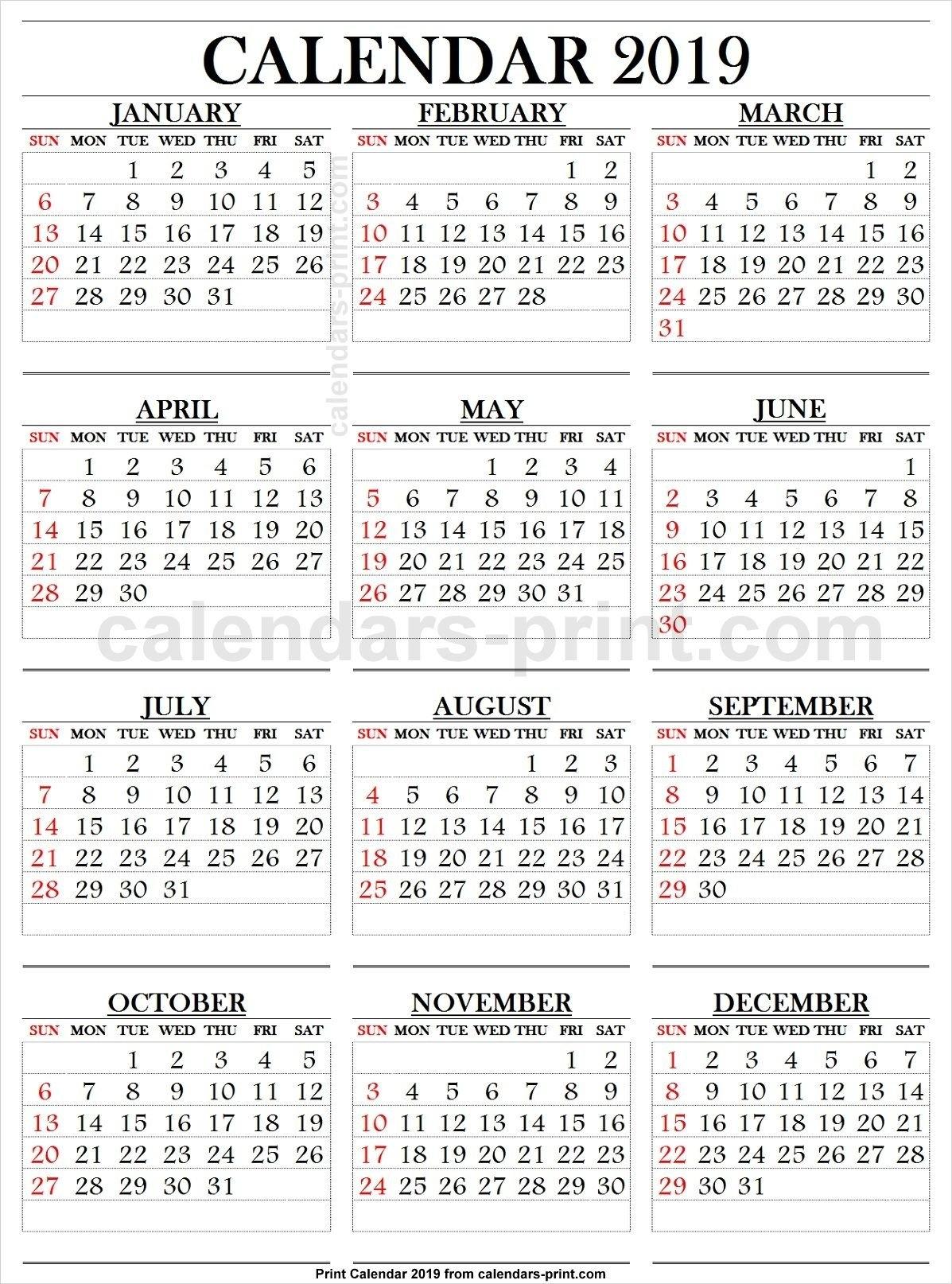 2019 Calendar Large Numbers | 2019 Yearly Calendar | Pinterest Calendar 2019 Large Print