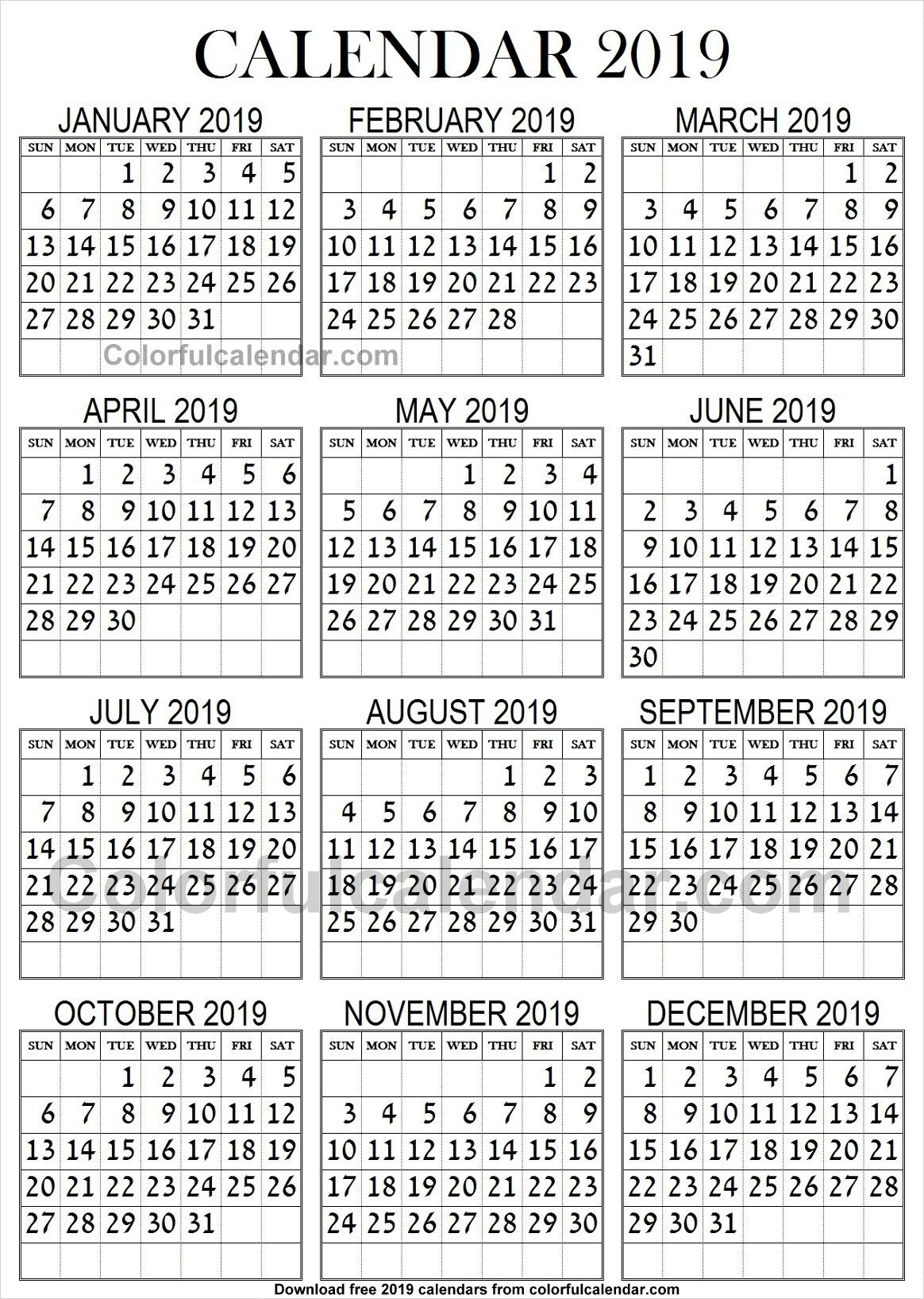 2019 Calendar Large Print | 2019 Yearly Calendars | Calendar, 2019 Calendar 2019 Large Print