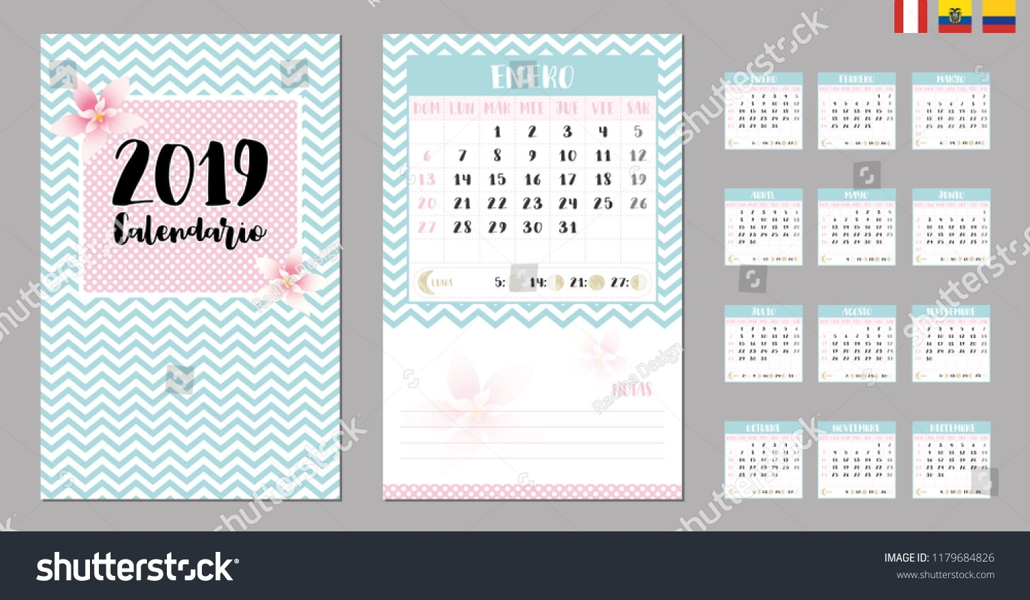 2019 Calendar Moon Phases Suitable Colombia Stock Vector (Royalty Calendar 2019 Colombia