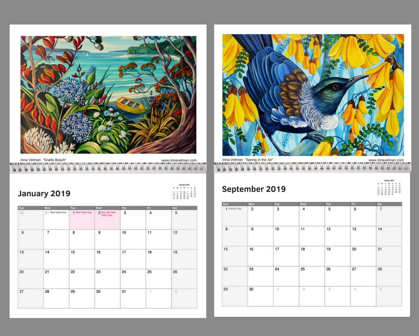 2019 Calendar- Nz Artist Irina Velman | Felt Calendar 2019 Artist