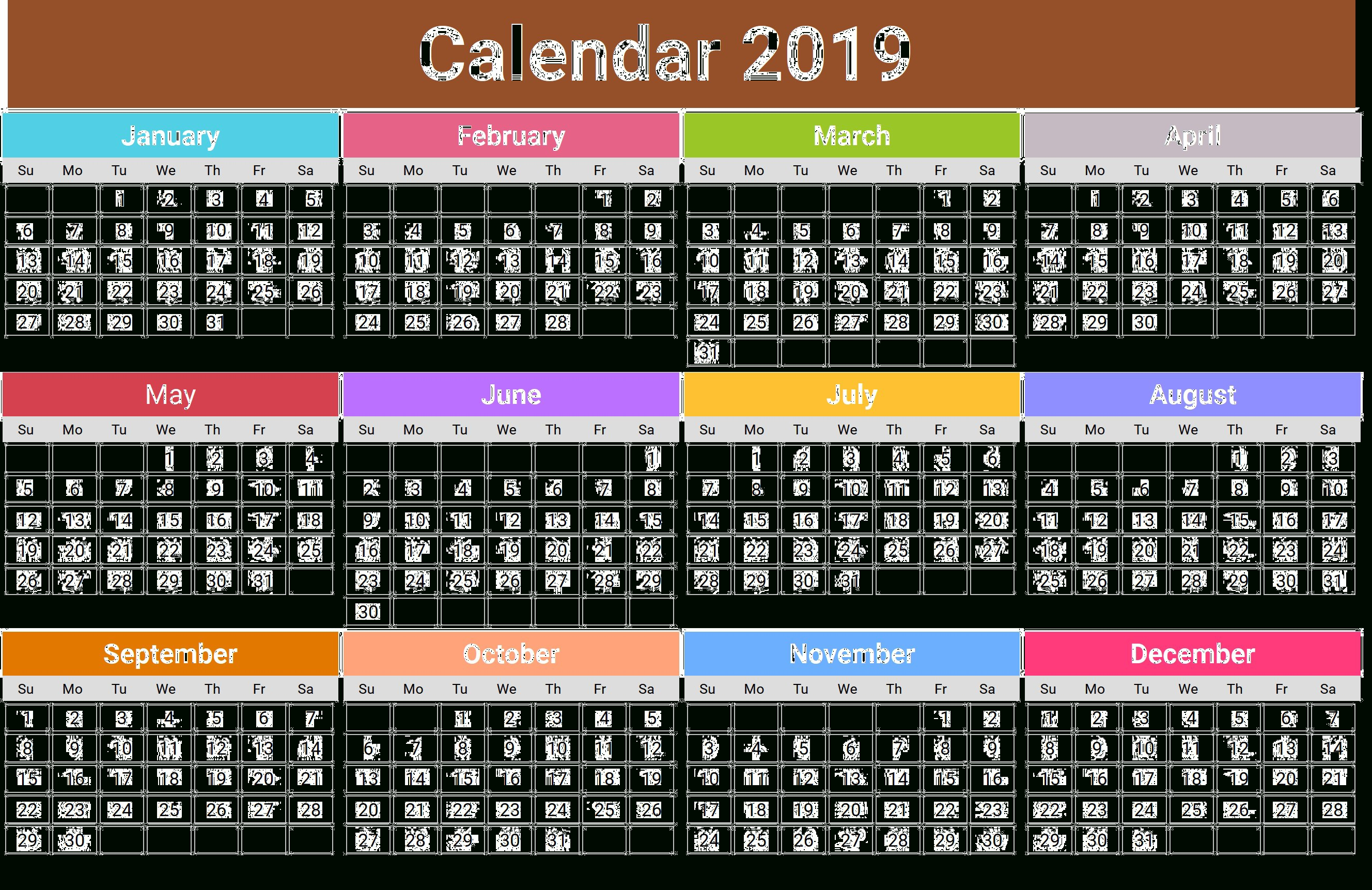 2019 Calendar Png Transparent Images | Png All Calendar 2019 Png