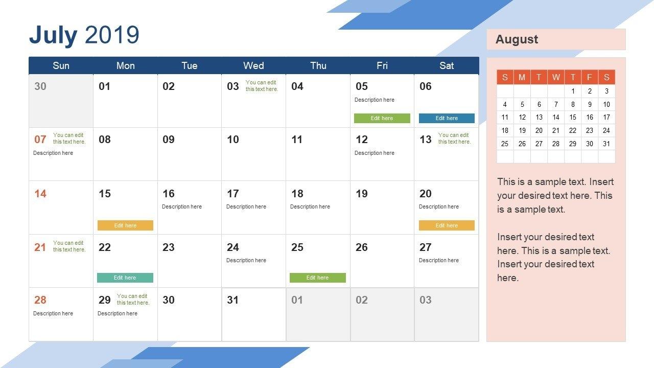 2019 Calendar Powerpoint Template - Slidemodel Calendar 01/2019